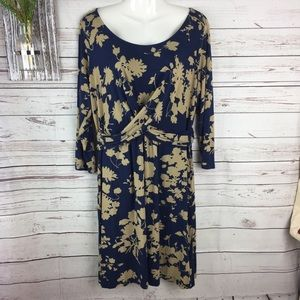 Boden blue and tan floral design dress 14